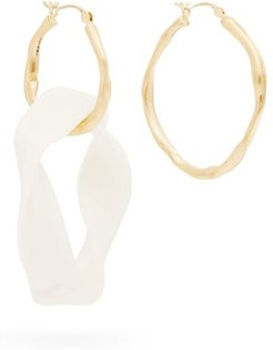 Mismatched 18kt Gold Plated Hoop Earrings - Womens - White