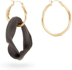 Mismatched 18kt Gold Plated Hoop Earrings - Womens - Black