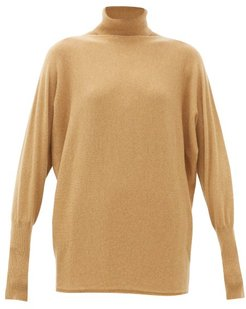 Batwing-sleeve Cashmere Roll-neck Sweater - Womens - Camel