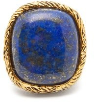 Miki Lapis And 18kt Gold-plated Brass Ring - Womens - Blue Gold