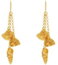 Aguas Shell-charm Gold-plated Drop Earrings - Womens - Gold