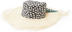 Luna Floral-satin And Straw Hat - Womens - Black And White