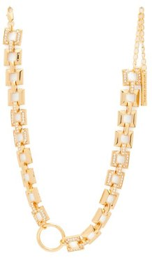Crystal Embellished Square Chain Choker - Womens - Gold