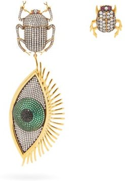 Scarab Mini Me 24kt Gold-plated Clip Earrings - Womens - Green Gold