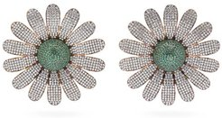 Camomile Flower 24kt Gold-plated Clip Earrings - Womens - Green Gold