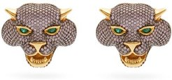 Crazy Cat 24kt Gold-plated Clip Earrings - Womens - Pink Multi