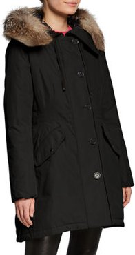 Monticole Long Parka Coat w/ Fur Trim at Hood