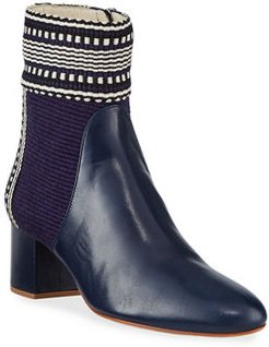 Dala Fabric and Leather Booties