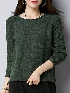 Round Neck Cute Plain Long Sleeve Knit Pullover cheap online stores, shoping, long cardigans for women, wool sweater