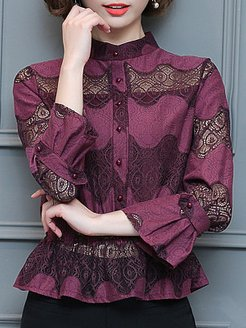 Tachibana Patchwork Elegant Lace Long Sleeve Blouse stores and shops, fashion store, lace top, black top