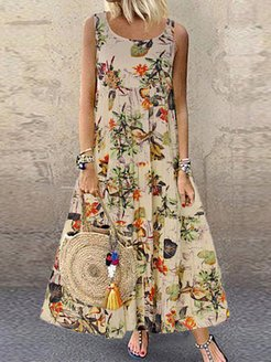 Round Neck Floral Printed Maxi Dress online shop, clothing stores, Oversized Maxi Dresses, dresses for juniors, lace maxi dress