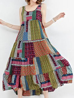Round Neck Print Maxi Dress clothing stores, cheap online stores, Oversized Maxi Dresses, semi formal dresses, tea length dresses
