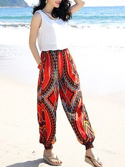 Pocket Elastic Waist Printed Casual Harem Pants clothing stores, fashion store,