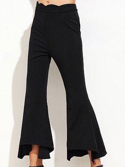 Plain Flared Mid-Rise Casual Pants For Women sale, online shop,