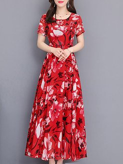Round Neck Floral Printed Maxi Dress cheap online stores, stores and shops, Fitted Maxi Dresses, long black dress, off the shoulder dress