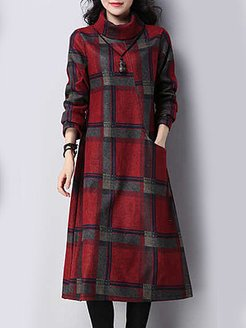 Cowl Neck Plaid Oversized Maxi Dress clothing stores, cheap online shopping sites, long white dress, long red dress