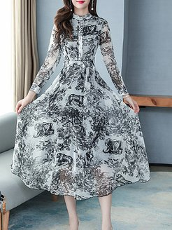 Round Neck Printed Maxi Dress clothing stores, online, Long Maxi Dresses, casual maxi dresses, tunic dress