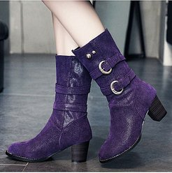 Fashion belt buckle thick heel women's Boots clothing stores, clothes shopping near me, Solid High Heels Boots,