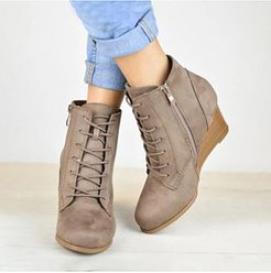 Stylish Wedge Lace Up Booties cheap online shopping sites, sale, Solid Boots,