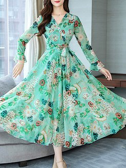 V Neck Floral Printed Maxi Dress shoppers stop, clothes shopping near me, printing Maxi Dresses, long red dress, vintage dresses