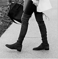 Fashion Suede High-Heel Over-the-Knee Boots stores and shops, clothes shopping near me, Solid Flat Boots,