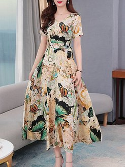 V-Neck Printed Maxi Dress online, stores and shops, printing Maxi Dresses, long red dress, floral dresses