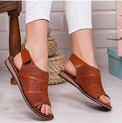 Fashion Solid Color Hollow Sandals clothes shopping near me, cheap online shopping sites, Color Sandals,