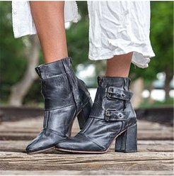 Fashion Block Heel Booties cheap online shopping sites, online, Solid High Heels Boots,