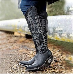Vintage Women Thick Heel Pointed Toe Boots sale, online shop, embroidery High Heels Boots,