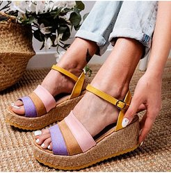 Comfortable wedge colorblock sandals cheap online stores, sale,