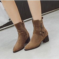Fashion Women Pointed Toe Thick Heel Plain Boots clothes shopping near me, fashion store, Solid High Heels Boots,