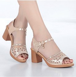 Block Heel Fashion Fishnet Sandals online shop, clothes shopping near me,
