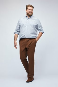 Big & Tall Stretch Washed Chinos Extended Sizes Pants Straight Fit by Bonobos - Brown Sequoias