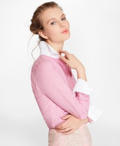 Petite Non-Iron Checked Cotton Poplin Fitted Shirt