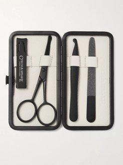 Air Safe Leather-Bound Travel Manicure Set - Men - Colorless