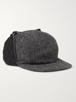 Quilted Twill and Harris Tweed Trapper Hat - Men - Gray