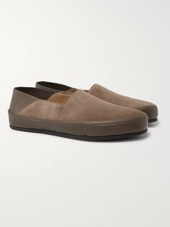 Collapsible-Heel Suede and Textured-Leather Loafers - Men - Brown