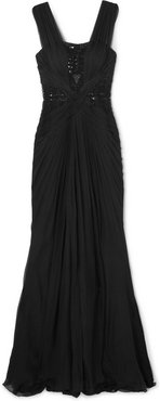Embellished Tulle-paneled Ruched Silk-chiffon Gown - Black