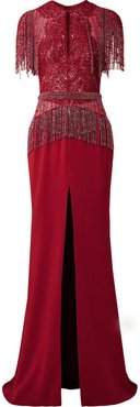 Embellished Tulle And Silk-blend Chiffon Gown - Red