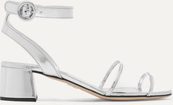 Metallic Leather And Pvc Sandals - Silver