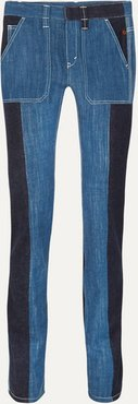 Two-tone High-rise Straight-leg Jeans - Navy