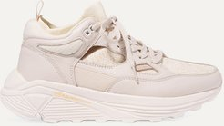 Brandblack - Aura Leather, Nubuck And Stretch-knit Sneakers - Pink