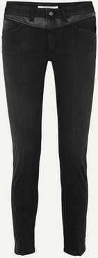 Leather-trimmed Mid-rise Straight-leg Jeans - Black