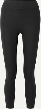 Center Stage Cropped Stretch Leggings - Black