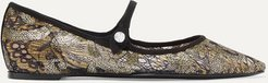 Hermione Sequined Lace And Canvas Point-toe Flats - Gray