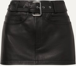 Belted Leather Mini Skirt - Black