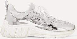 Mirrored-leather And Neoprene Sneakers - Silver