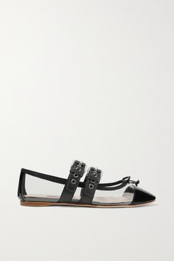 Buckled Pvc And Leather Ballet Flats - Black