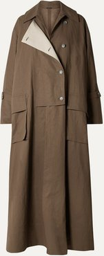 Oversized Double-breasted Linen Trench Coat - Brown