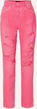 Distressed High-rise Jeans - Bright pink
